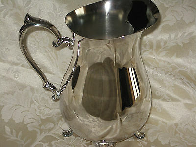 INTERNATIONAL SILVER CO. SILVERPLATE FOOTED WATER PITCHER JUG Lovely Piece  EUC