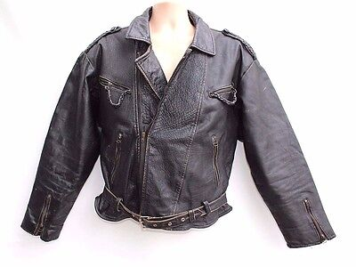 VTG Black Thick 100% Real Leather Zip Biker Men's Jacket Coat size M Festival
