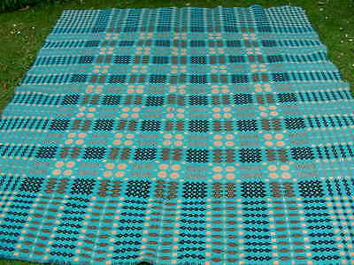 "Vintage Welsh wool tapestry turquoise blue blanket throw 84""X 71"""