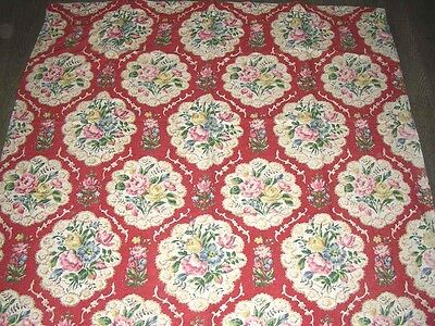 vintage 50s chintz floral bouquets red length cotton fabric