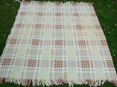 "Vintage Welsh wool tapestry very pale blue yellow cream blanket throw 60""X 51"""