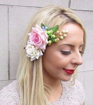 Blush Pink Ivory Rose Berry Flower Hair Clip Fascinator Bridal Bridesmaid 3292