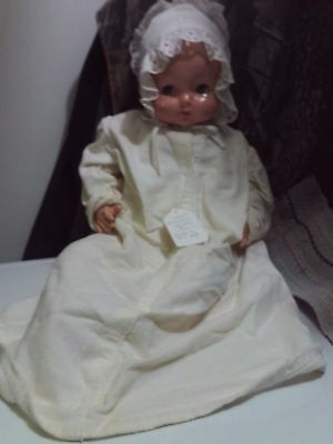 """Vintage 24"""" Effanbee Sweetie Pie Composition & Cloth Doll Green Eyes Crier Works"""
