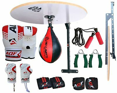 AQF 14 PC Speed Ball Platform Set Boxing Gloves Swivel Stand Bracket Speedball