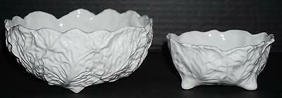 "2 Coalport Countryware Bowls 6.25"" Vegetable 4.5"" Dessert Embossed Leaves 3 Toed"