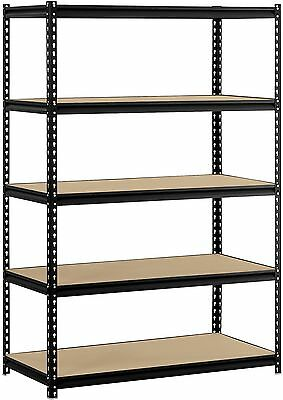 Muscle Rack 48'W X 24'D X 72'H 5-Shelf Steel Shelving, Black