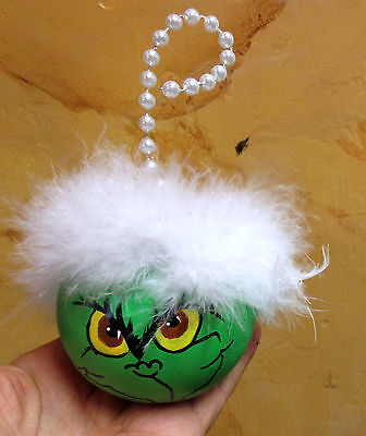 Hand Painted GRINCH Gourd, Original Christmas Folk Art ORNAMENT
