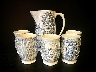 Rossini Country French Transferware Ceramic Pitcher and 5 cups