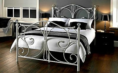 Victorian Style Metal Bed Frame White King Size French Beds Vintage Shabby Chic