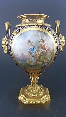 19c. French Sevres Style Hand Painted Porcelain Bronze Urn Vase Signed A. Daret