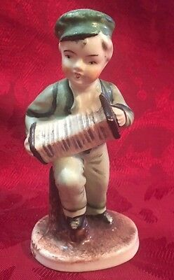 Boy Playing Accordion Figurine Porcelain Vintage Occupied Japan 5  in high