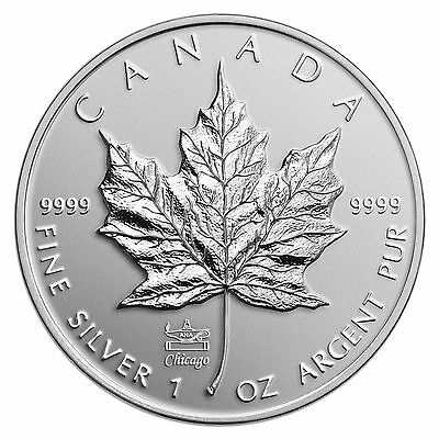 2014 Canada Maple Leaf Silver Coin Chicago World Fair ANA Privy Mark, No Tax