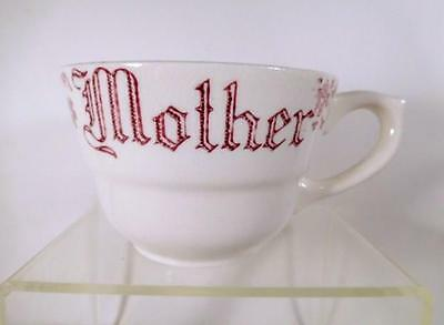 """Antique Mush Cup - White w/Red Decoration & Writing """"MOTHER"""""""