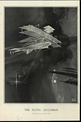 Flying Dutchman Ghostly Ethereal Surreal Airplane 1909 antique Harpers print