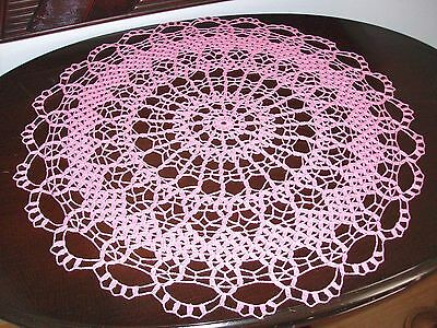 Crochet Large Pink Centerpiece Doily Handmade Lace by PaulineAnneCrochet