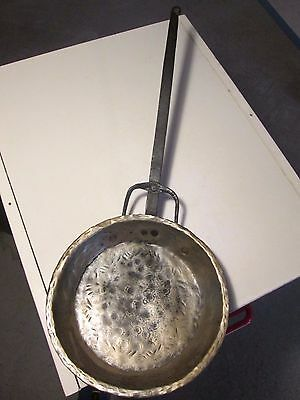 Antique Hand Forged Cast Iron Bronze Skillet Possibly18th Century Frying Pan