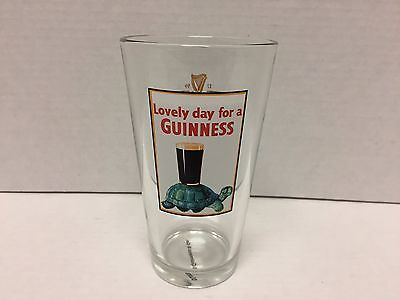 """Lovely Day For A Guinness Turtle Guinness Irish Beer Vintage Drinking Glass 6"""""""