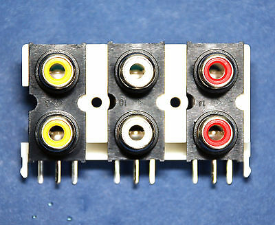 3pc RCA Jack x6 Female Connector Set Vertical PCB pin Com Ground ABS Housing