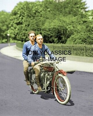 Motorcycle Racing Pioneers Colorized 8X10 Photo Old Vintage Indian Boardtracker