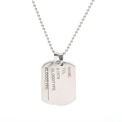 Stainless Steel Mens Nameplate Military Army Style Dog Tags Chain Mens Pendant X