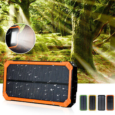 Waterproof 300000mAh Portable Solar Charger Dual USB Battery Power Bank AU