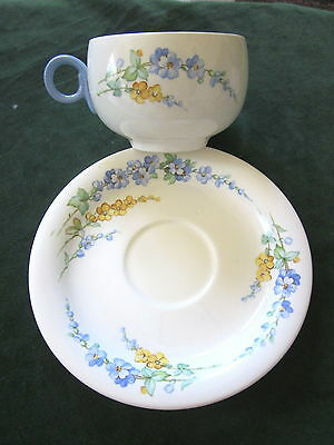 Vintage 1940 HOMER LAUGHLIN Swing Eggshell Cup & Saucer Forget-me-not Flowers