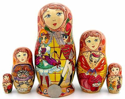 Genuine Russian 5 dolls Fairy tale Mukha Tsokotukha BUZZY-WUZZY BUSY FLY signed