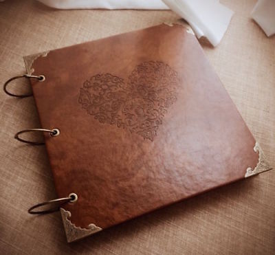 DIY PU Leather Vintage Heart Kraft Paper Photo Album Wedding Baby Scrapbook
