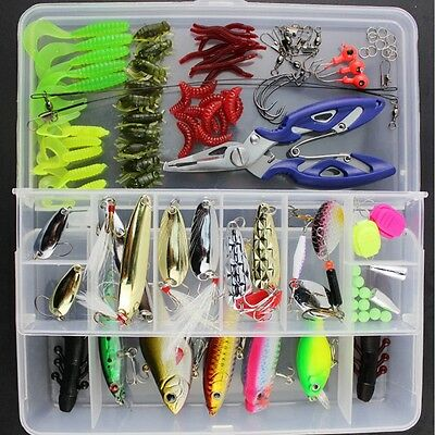 101PCS Fish Box Set Fishing Lures Crankbaits Hooks Minnow Bass Baits Tackle