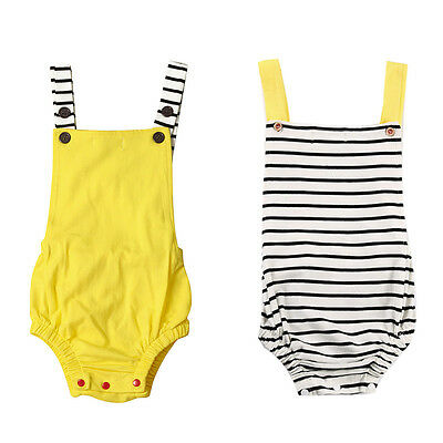 Newborn Suit Infant Baby Boy Girl Clothes Halter Striped Romper Jumpsuit Outfits