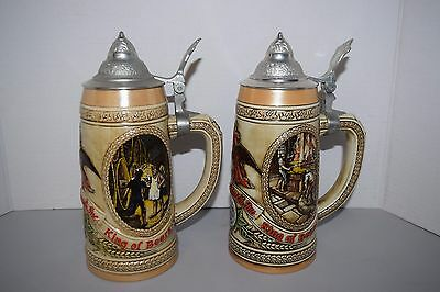 Lot of 2 Anheuser-Busch-Budweiser-Holiday-Stein-Limited-B&C-Series