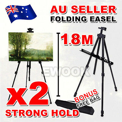 2x Adjustable Stand Tripod Easel Display Drawing Board Artist Sketch Painting