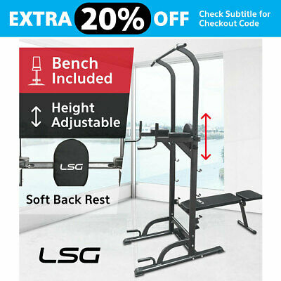 Fitness Knee Raise Power Tower Chin Up Push Pull Dip Station Home Gym New LSG