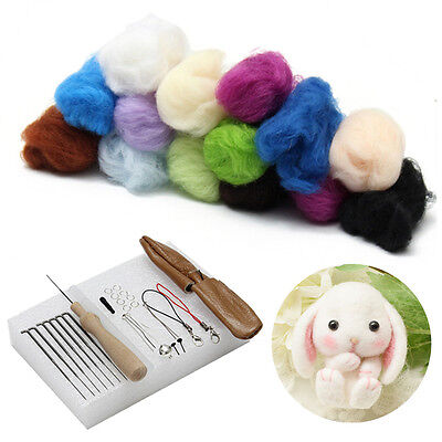 25 Colour DIY Wool Needles Felt Tool Set + Needle Felting Mat Starter Kit Craft