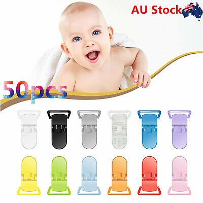 50pcs 50 Random Colored Plastic Pacifier Suspender Dummy Clip Badge Holder AU