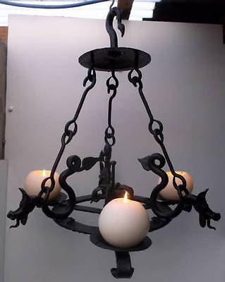 Amazing French Wrought Iron 3 Branch Gothic Dragon Ceiling Candle Lamp Light #2