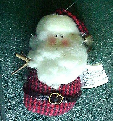 Vintage Miniature Cloth Santa Christmas Ornament & Brooch Pin