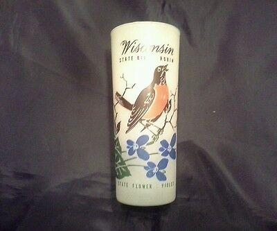 Vintage Wisconsin  State Bird & Flower Frosted Glass