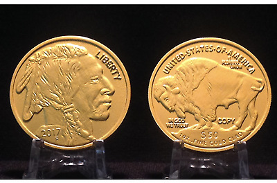 2- 2017 $50 BUFFALO INDIAN Commemorative Tribute Proof Coins - 24 KT Gold Clad