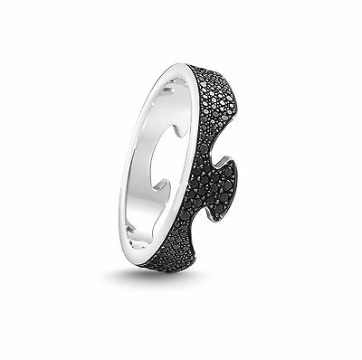 #1367a Georg Jensen Fusion End Ring - 18k White Gold With Diamonds ab
