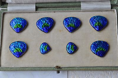 Silver & Blue Swirl Enamelled Button Set - Original Box - Liberty Style