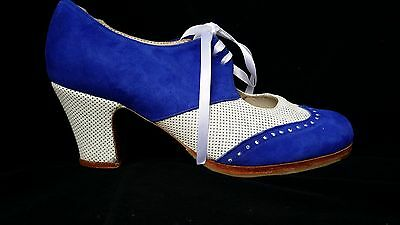 Flamenco Shoes Professionals brand new Blue suede white leather 37.5 and 38