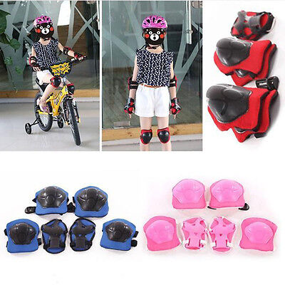 6Pcs a Set Kids Rollerblade Skateboard Knee Elbow Wrist Protective Gear Pad Kit