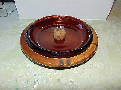 Decatur Industries Walnut Caddie with Amber Pipe Ash Tray