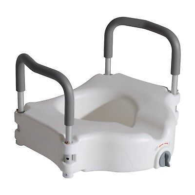 HOMCOM Raised Elevated Toilet Seat with Lock and Padded Arms Removable White ...