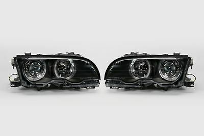 BMW 3 Series E46 01-03 Coupe Black Angel Eyes Headlights Pair Driver Passenger