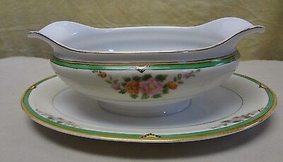 VTG Made in Japan Double Spout Floral & Gold Gravy Boat W/ Attached Underplate