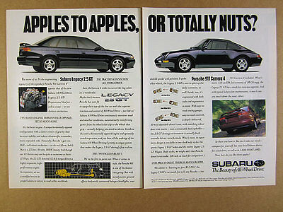 1996 Subaru Legacy 2.5 GT compared to Porsche 911 Carrera 4 vintage print Ad