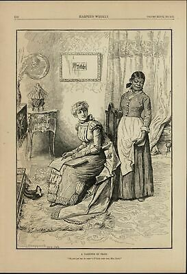 Wealthy Woman Writing Love Note Black Servant 1884 great old print for display