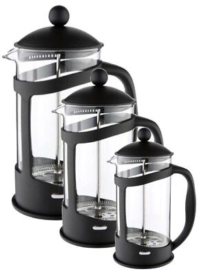 New Black Cafetiere Pyrex Glass 8 Cup 6 Cup Or 3 Cup Dishwasher Safe